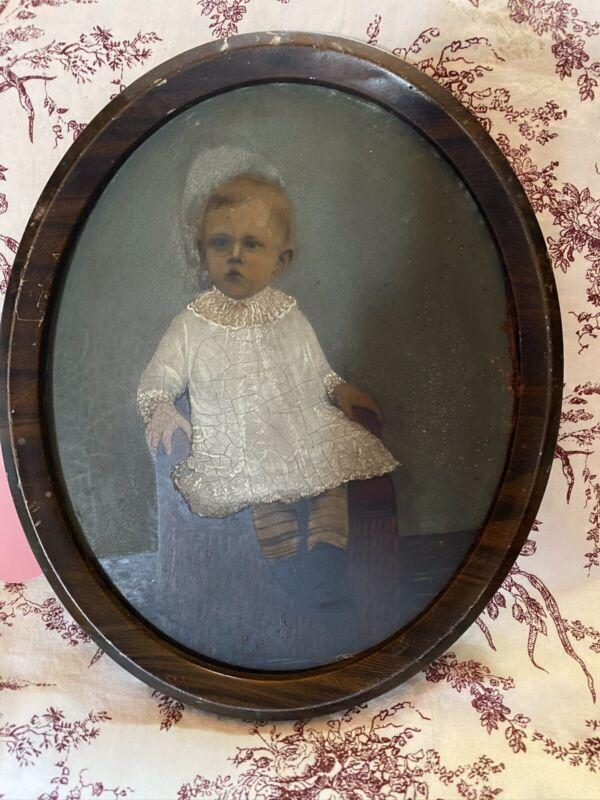 Antique Victorian 19th Century Hand Colored Photograpgh Portrait