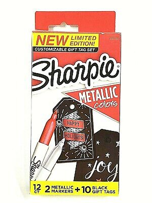 Sharpie Limited Edition Gift Tag Set - 2 Metallic Markers Rubysilver 10 Tags