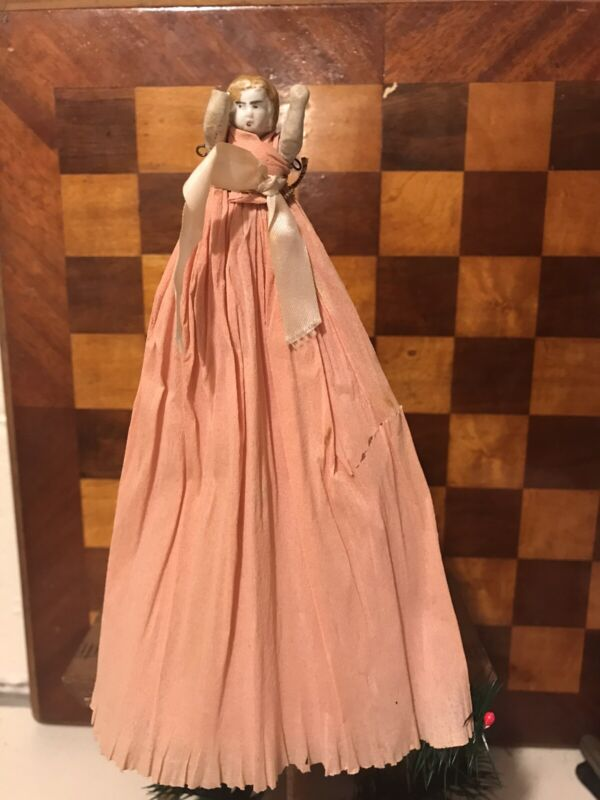 Antique christmas tree topper Ornament Bisque Doll Pink Crepe Paper Skirt