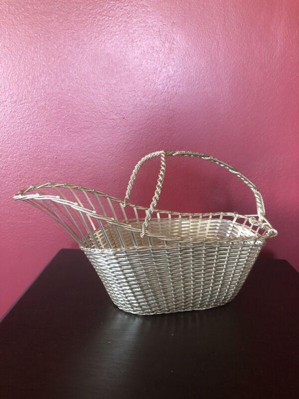 Vintage Eisenberg Lozano Silver Plate Woven Wine Holder Basket France Hallmarked