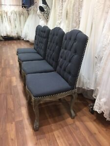 Modern charcoal grey dining chairs - linen nailhead chairs wood