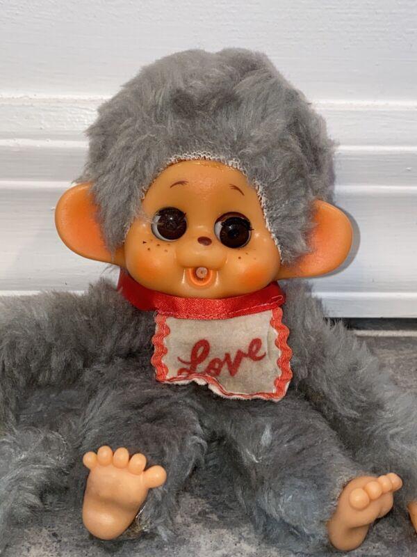 Monchhichi Monchichi Plush Doll Vintage Toy Love Bib Grey Gray Antique Big Eyes