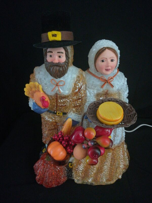 Thanksgiving Pilgrim Couple Iced Blow Mold Table Decoration Lights Up