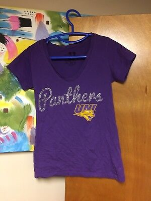 UNI Northern Iowa Panthers Deep V-Neck T-shirt Women's Small Bedazzled Purple