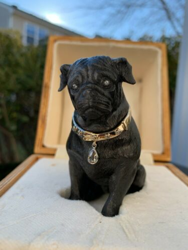 Antique Russian Faberge Obsidian 14K Gold Diamonds Figurine of a Mops Dog