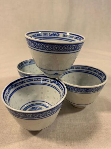 """Rice Eyes Blue & White Dragon 2 7/8"""" Tea Cup (4pcs)"""