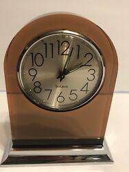 Vintage BULOVA Wind Up Alarm Table Clock Cooper Lucite Crome Japan k2)
