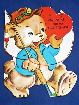 VINTAGE VALENTINE DOG W/CLOTHES DIE CUT USED GREETING CARD GIBSON