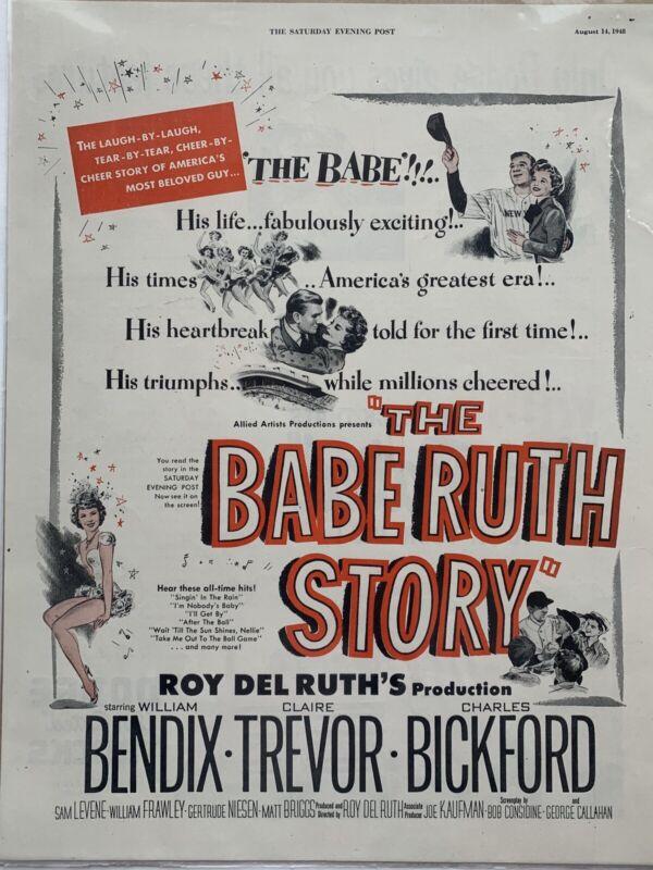 Vintage 1948 The Babe Ruth Story Movie Baseball Print Ad