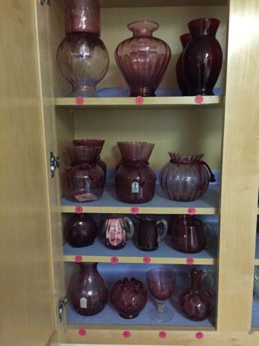 Huge Assortment PILGRIM CRANBERRY GLASS - Vases, Pitchers, Creamer Sugar, more