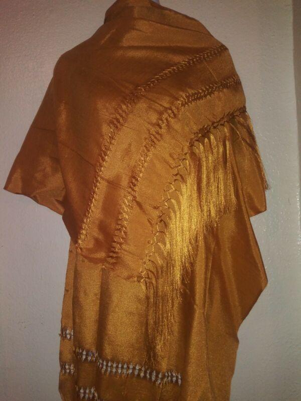Mexican Rebozo Seda Gold Oro  Silk Texture  Shawl Wrap Mexico Baby Carrier