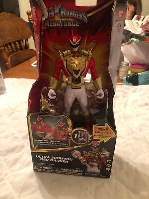 Ban-DAI Saban's Power Rangers Megaforce Ultra Morphin Red Ranger Lights Up for sale  White Post