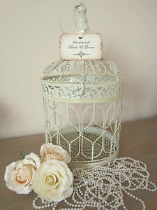 LRG VINTAGE CREAM WEDDING WISHES FOR THE BRIDE POST BOX WEDDING FAVOUR BIRD CAGE