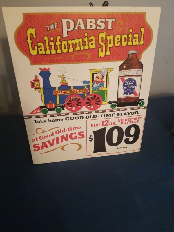 1960s pabst beer statue guy on train California cardboard advertising bar sign