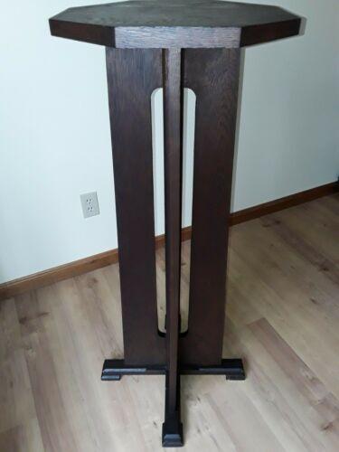 Tall antique Mission Oak pedestal stand Vtg. Arts & Crafts  Limbert Stickley Era