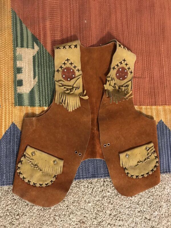 Kids Vintage Leather Fringe Southwestern Cowboy 70's Vest