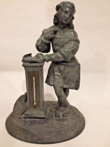 RARE Antique c.1850 Figural Renaissance Artist Raphael Metal Desktop Thermometer