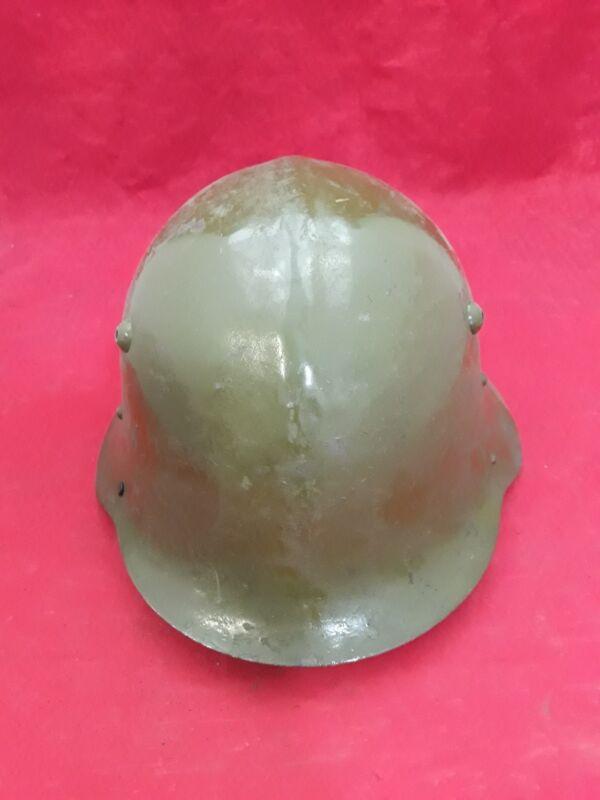Vintage Bulgarian Military WWII Metal Helmet Green Type 1 Missing Straps