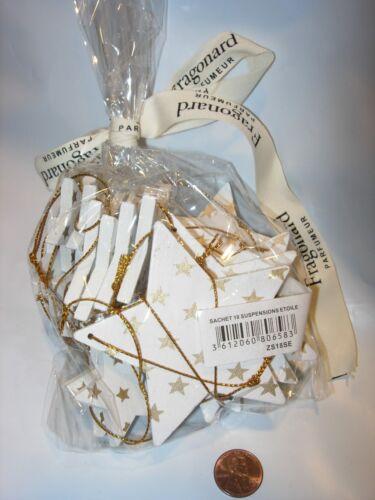 18 NEW FRAGONARD PERFUME CHRISTMAS TREE ORNAMENT WHITE GOLD HOLIDAY DECOR STARS