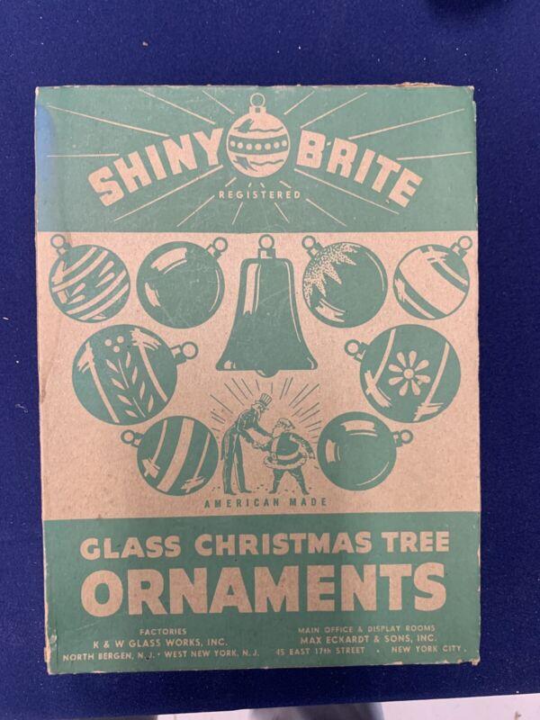 Vintage Shiny Brite Box 12 Mercury Glass Christmas Tree Ornaments some USofA