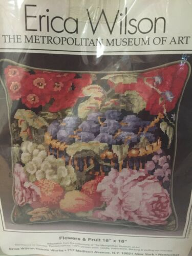 "Erica Wilson Flowers & Fruit Needlepoint  Kit 16"" Metropolitan Museum of Art"
