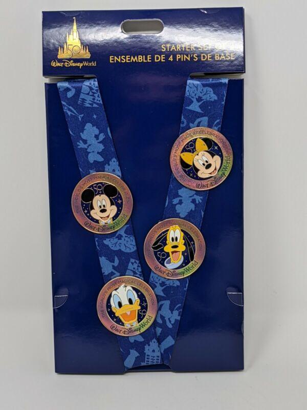 WDW 50th Anniversary Pin Trading Starter Set With Lanyard Walt Disney World