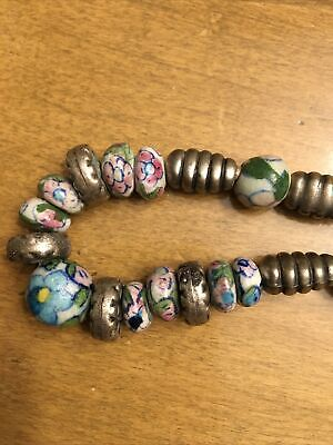 Unusual VTG Floral Hand Painted Porcelain Beads w/Metal Accents Necklace 20""