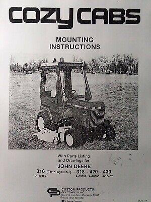 Cozy Cab For John Deere 318 420 430 Lawn Garden Tractor Install Parts Manual