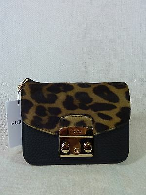 NWT FURLA Black Leather/Leopard Print Fur Mini Metropolis Cross Body Bag $498