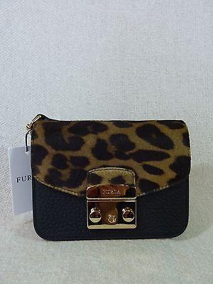 f6cb3598a3ea NWT FURLA Black Leather Leopard Print Fur Mini Metropolis Cross Body Bag   498 фото