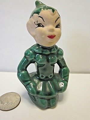 vintage Girl Elf ceramic kneeling  figure Green outfit hand painted face dimples
