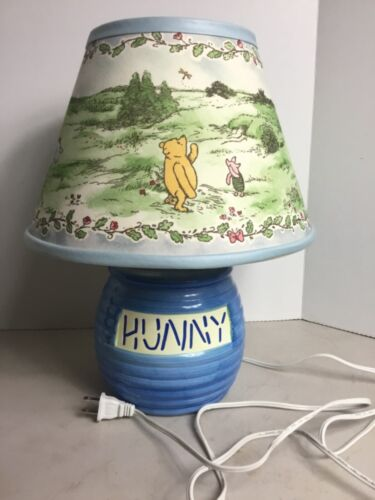 "Vintage Disney Winnie the Pooh Blue Ceramic ""Hunny"" Honey Pot Lamp"