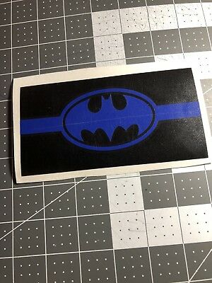 Square Blue Vinyl (Thin Blue Line Batman Police Vinyl Decal Window Sticker For Car Truck SUV Square )