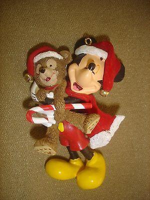 Disney Christmas ornament resin Mickey Mouse & teddy bear santa scarf & hat