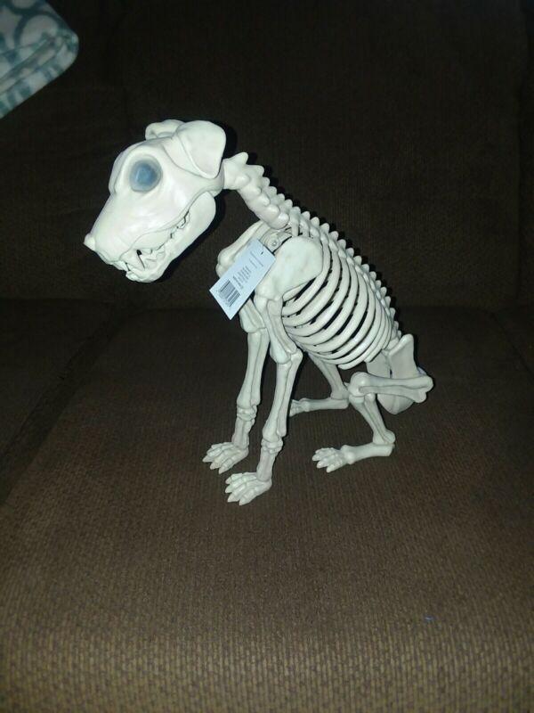 "NEW Halloween Puppy Dog Skeleton Prop Sitting  Decor Party 12"" Skull Bones"