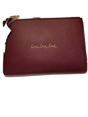 Katie Loxton Perfect Pouch Love, Love, Love In Burgundy BNWT