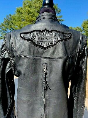Harley Davidson Women's Willie G Convertible Black Leather Jacket Vest Small USA