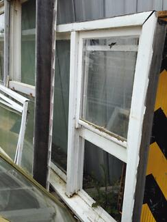 Timber Wooden windows x3 diff sizes  - double & single hung sash