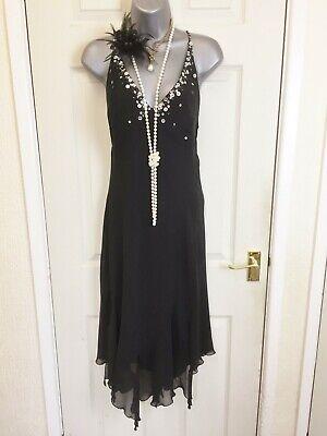Ladies Black Bay Trading 1920's Vintage Style Flapper Dress - Size 10