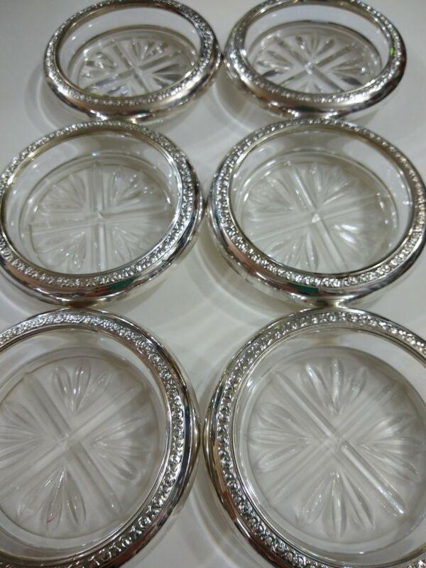 Vintage F.B. Rogers 1883 Sterling & Crystal Coasters (Set of 6) *