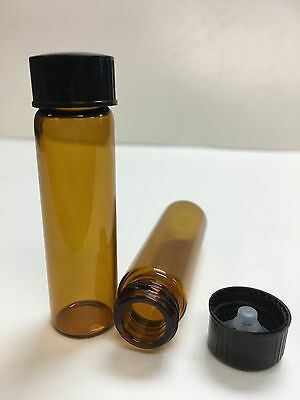 144 Pcs Amber 2 Dram Glass Vials 17mm X 60mm With Caps