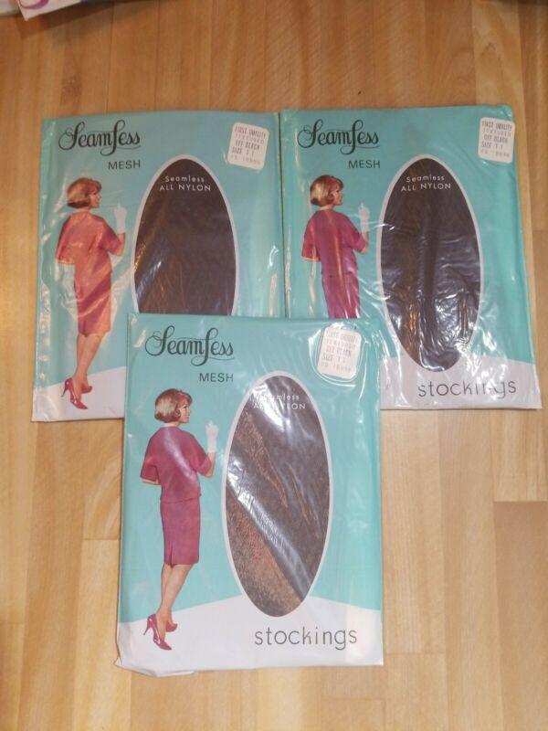 Seamless Mesh 3 Packs Textured 100% Nylon Stockings Off Black Size 11 Vtg 60s