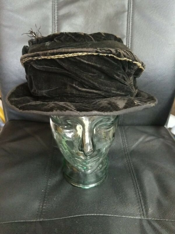 Antique 1800s Victorian 2 way Walking hat /feather& hat pin velvet outside,lined