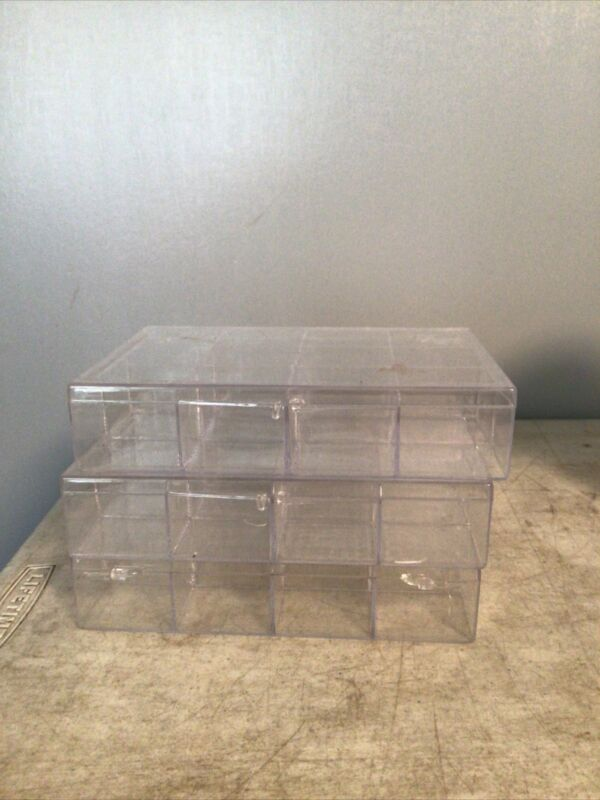 Lot Of 3 Plastic Craft  Storage Bins/ Boxes 7 1/2x 5x1 1/2 and 12 slots
