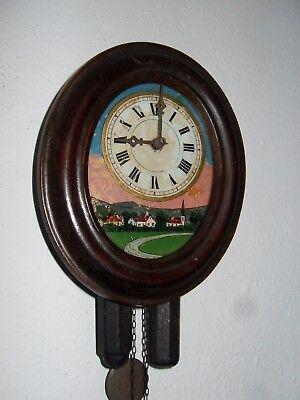 Schwarzwalduhr - Bauernuhr - Holzrahmen  oval, Hinterglasbild  Uhr um 1900