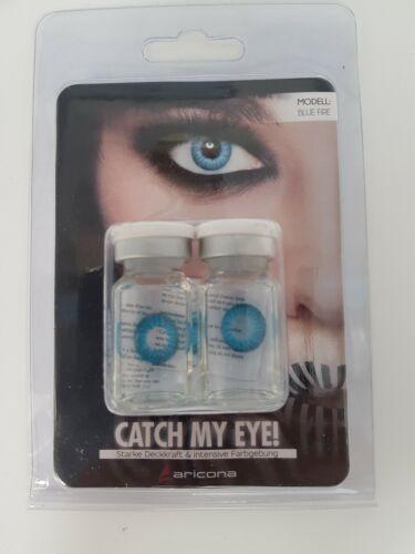 Aricona Farblinsen deckend blaue farbige Kontaktlinsen Blue Fire farbig blau EA3