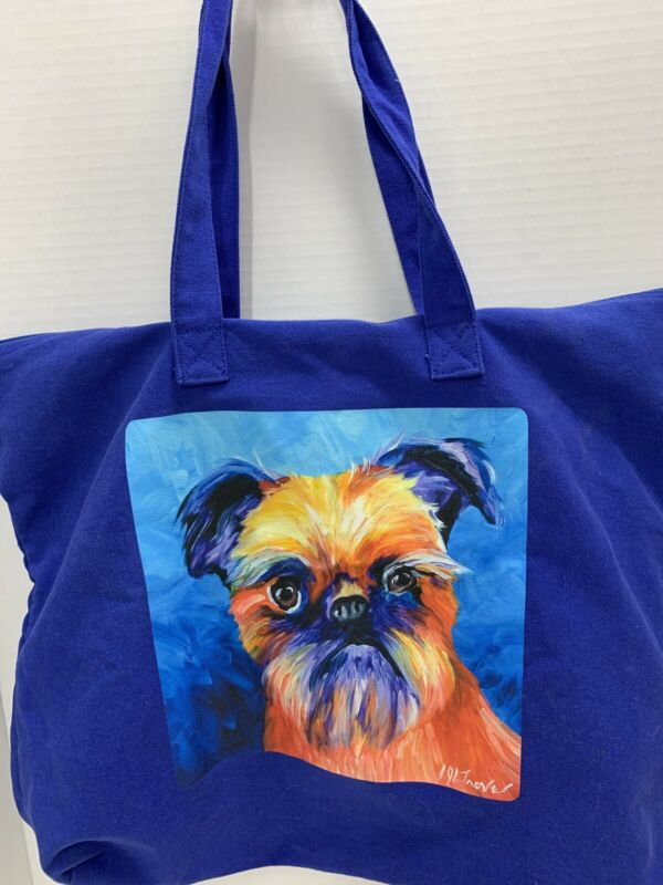 "Brussels Griffon Tote Bag Dog Blue Painted Signed 20""x17"" Inner Pocket Zippered"
