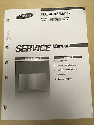 Samsung Service Manual for the HPP4271 X XAA HP-P4271 Plasma Display TV    mp Samsung Tv Service Manual