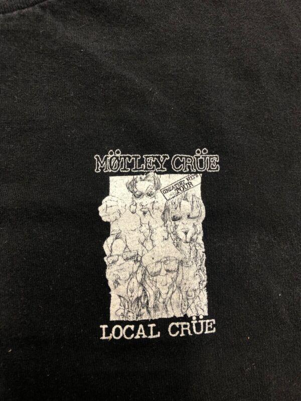 Vintage T Shirt - Motley Crue Local Crew Black Size L Band Greatest Hits Tour