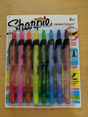 New Sharpie 8-count Retractable Highlighter Narrow Chisel Smear Guard